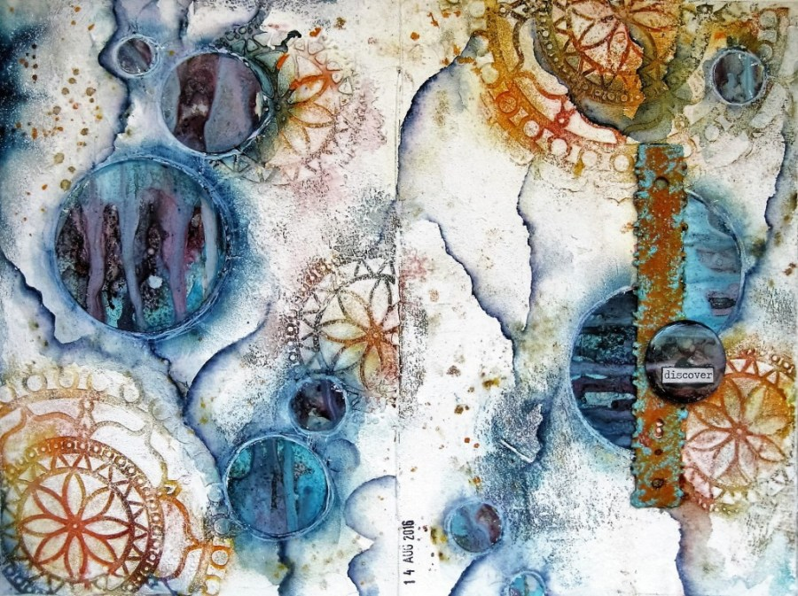 Art Journal Calendar Tutorial : Mixed media art journal page with video tutorial