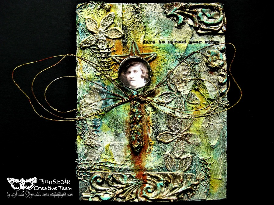 Dare to spread your wings - mixed media collage/assemblage