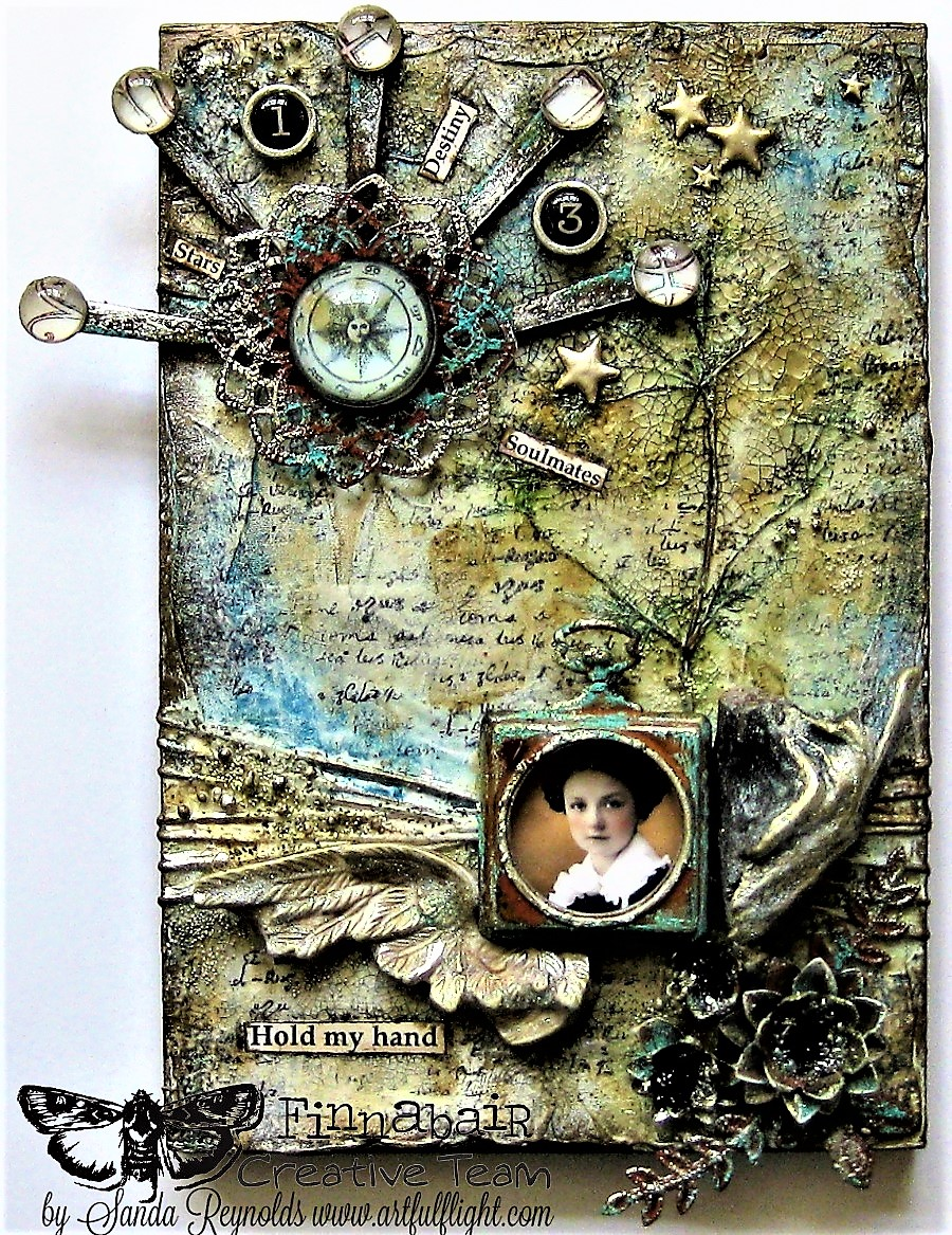 "Mixed media on balsa wood panel ""Soulmates"" for Finnabair CT"