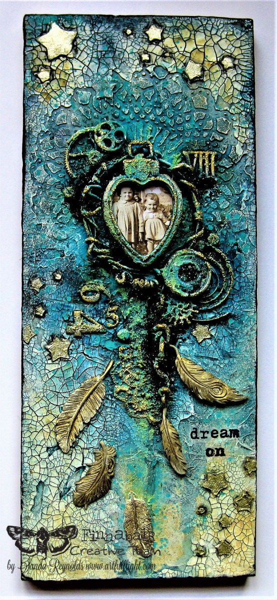 """Dream On…"" – mixed media collage/assemblage for Finnabair CT"