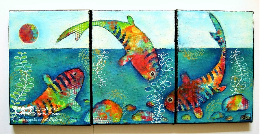 "Mixed media canvas triptych ""My Colourful Summer"" for Finnabair CT"