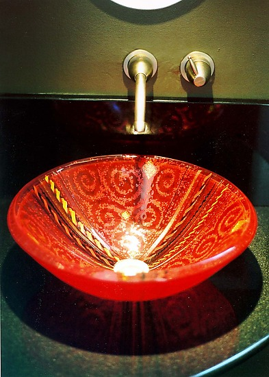 Red Venetian Vessel Sink By Mark Ditzler Art Glass Sink