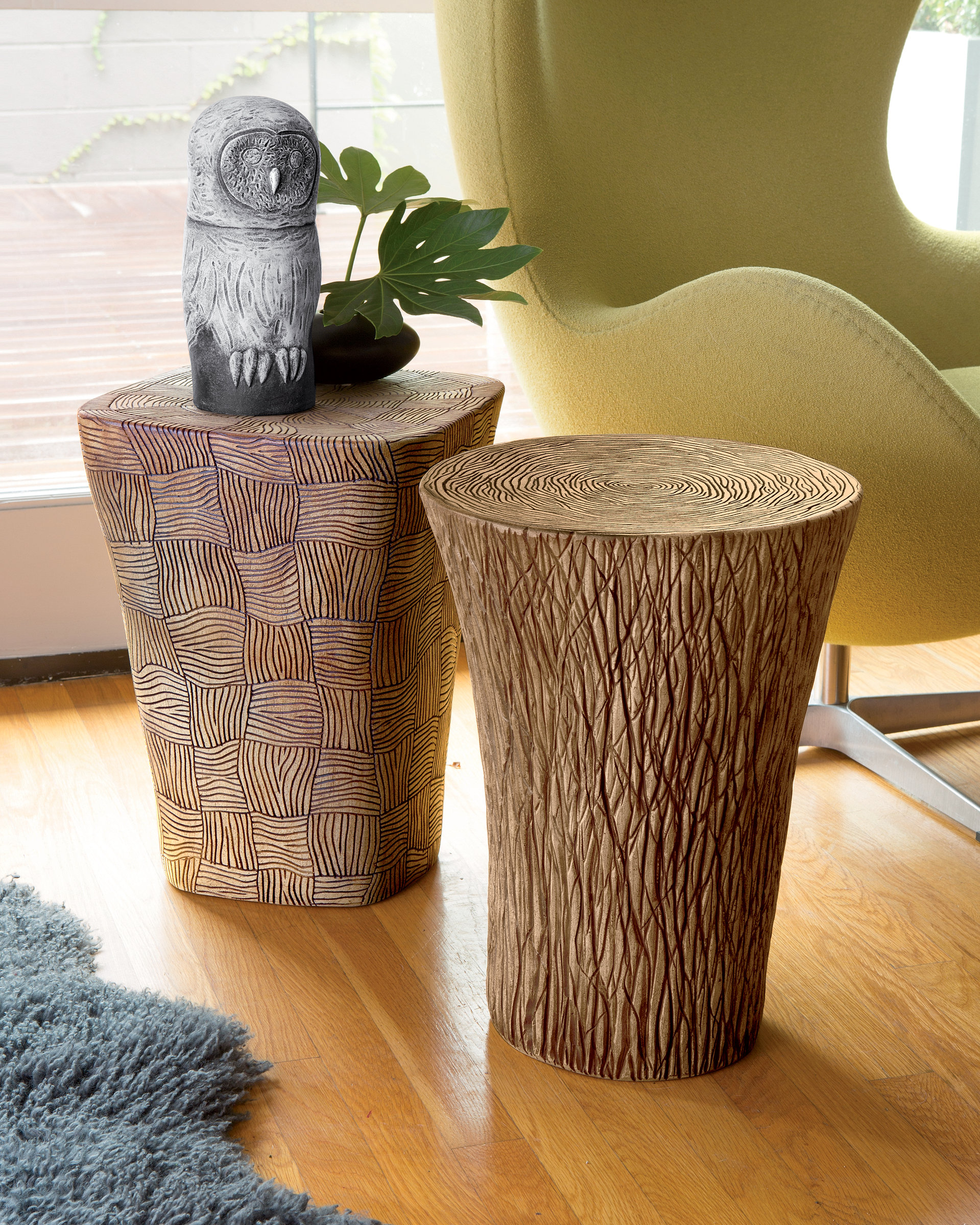 Stump And Woven Tables By Larry Halvorsen Ceramic Side