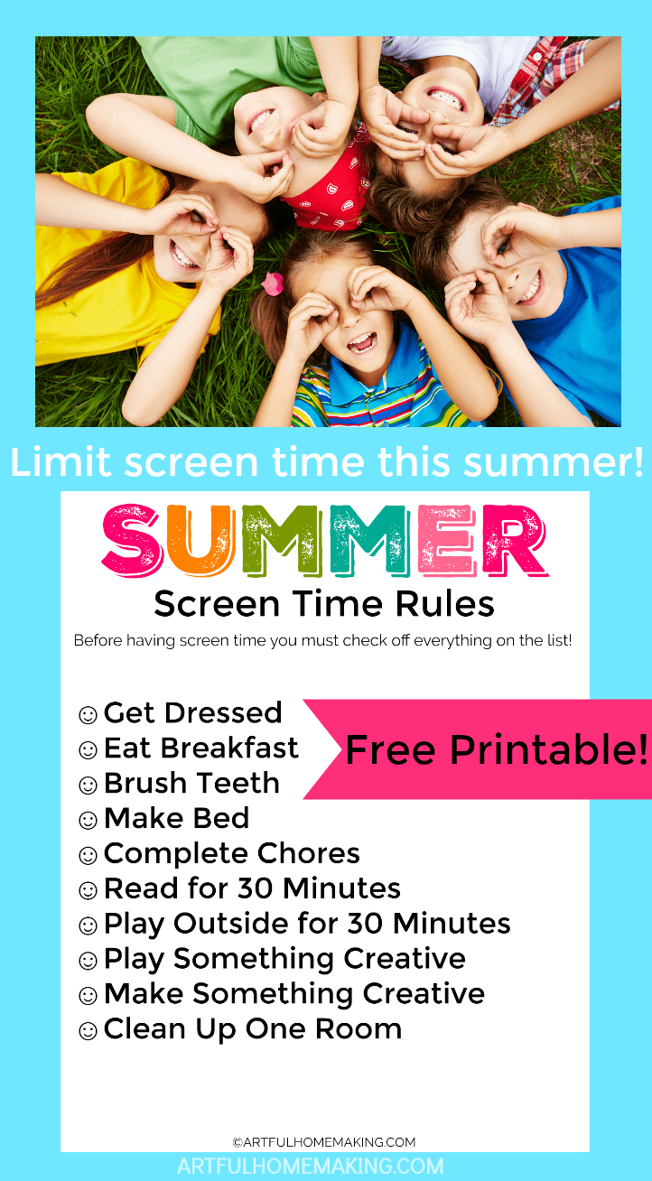 photo relating to Screen Time Rules Printable identified as 25 Show-Free of charge Summertime Things to do for Small children - Clever Homemaking