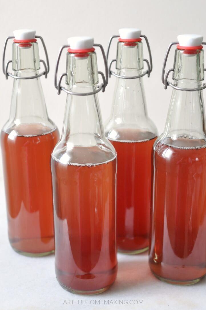 fermented drink in flip top bottles