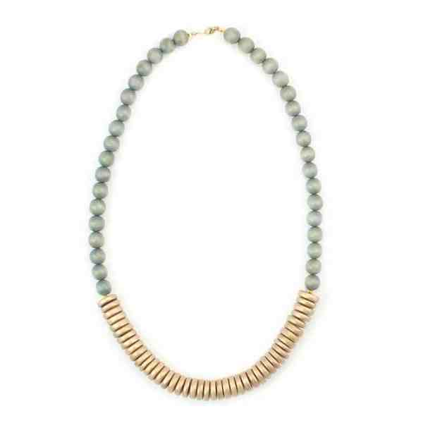 Grey Gold Wood Necklace