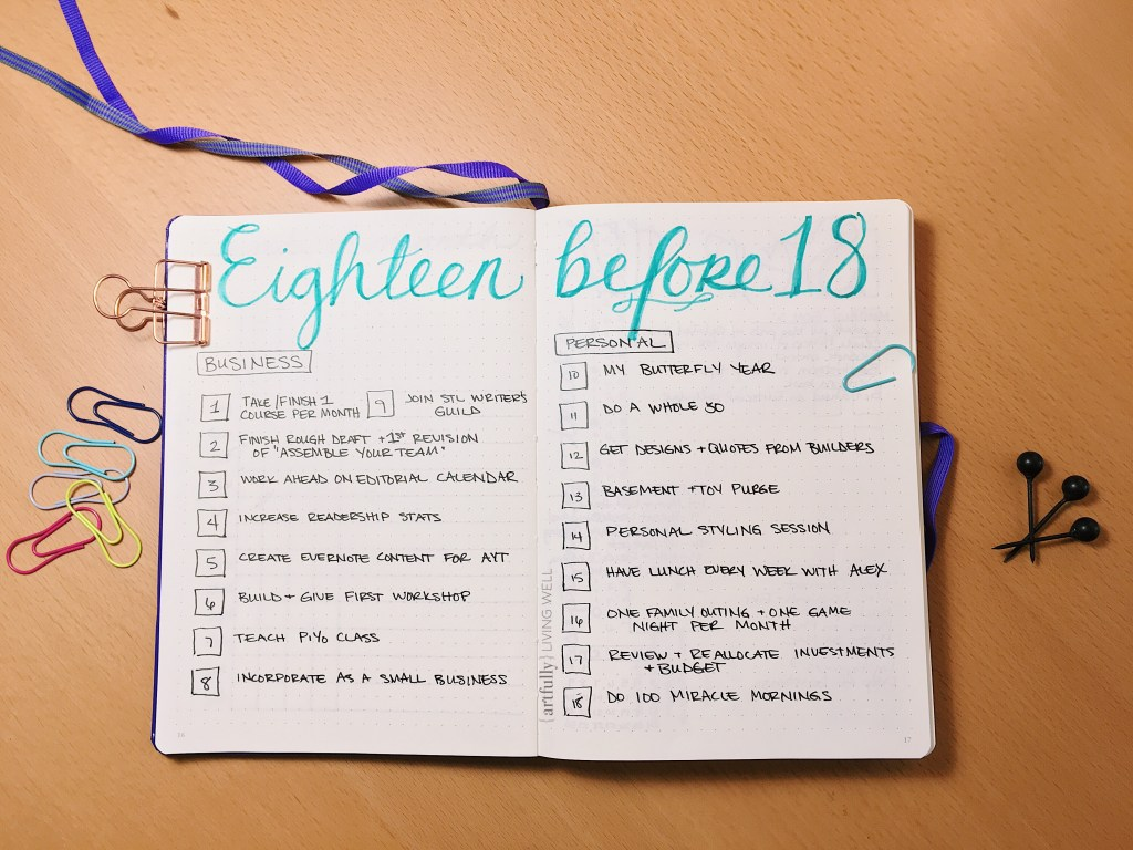 Bullet Journal 18 Before 18 review