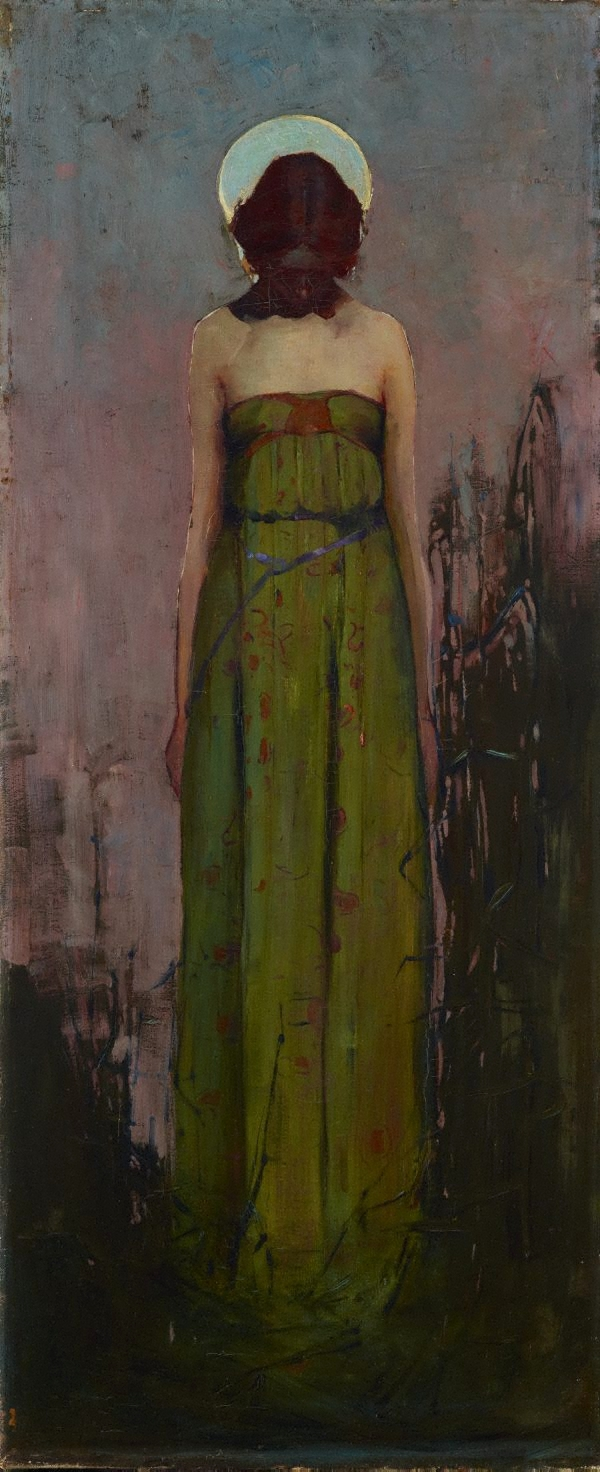 A painting of a woman in a green sleeveless dress at night.