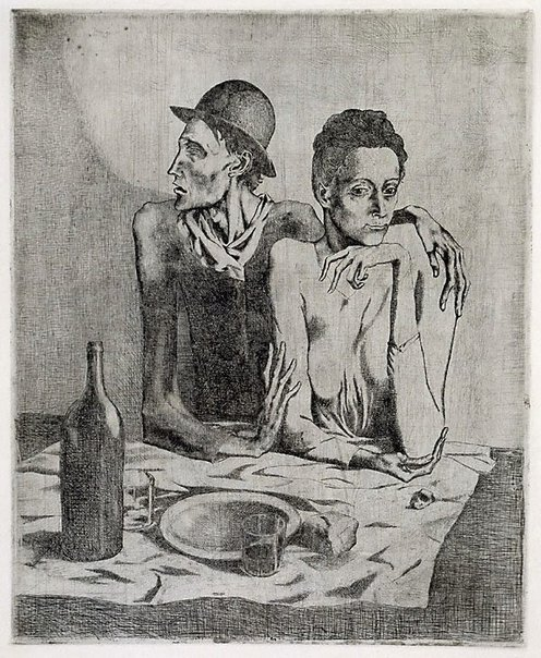 An image of The frugal repast by Pablo Picasso