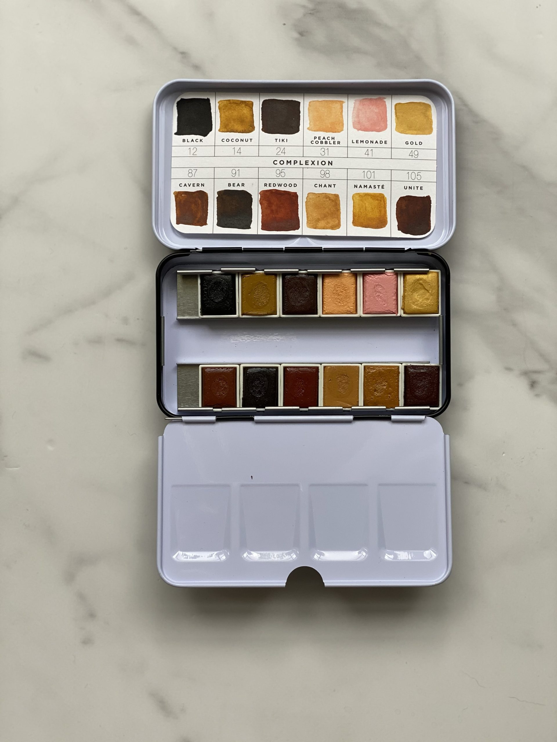 This is their palette for painting skin tones.