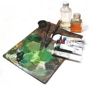oil painting palette and mediums