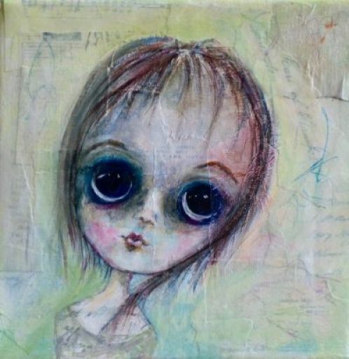 Big eyed girl painted on canvas with acrylics