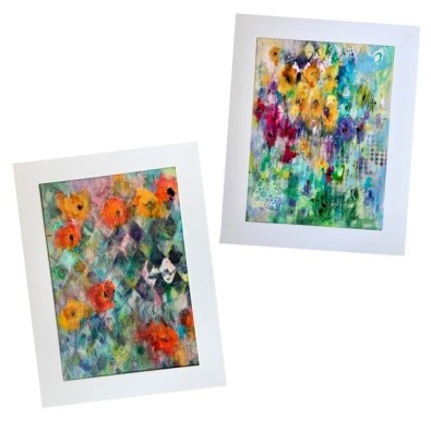 Acrylic abstract meadow paintings