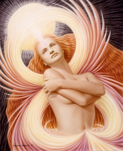 A. Andrew Gonzalez Seraphim Awakening 19 x 24 inches Acrylic on Panel 1996