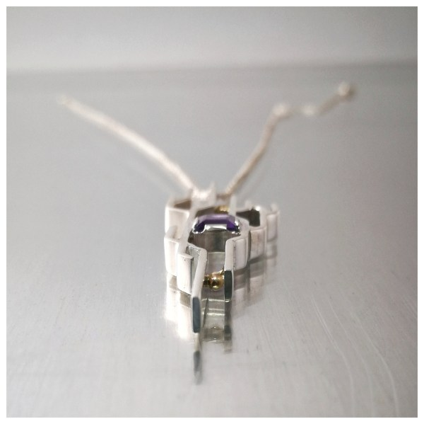 New path pendant, intricate silver lines with gold balls and square amethyst