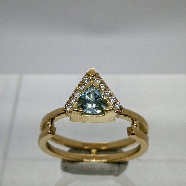 Orbit ring, gold ring with trillion cut aquamarine and lab-grown diamonds