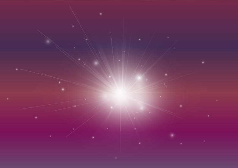 vector image of radiating light particles representing energy and the source of the universe