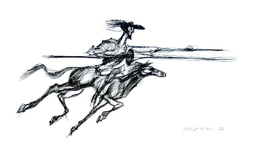 Arthur Kraft, Artist, Kansas City, Print, Lithograph, Don Quixote