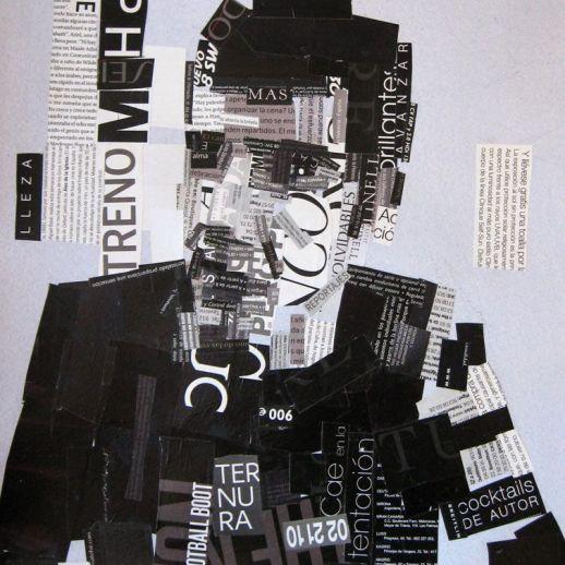 """Ternura"". Jesús F. Navarro. Collage tipográfico sobre papel."
