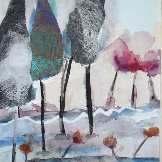"""""""Cambio de estación"""". Hita Almagro. 25 x 32 cm. Acuarela y collage sobre papel"""