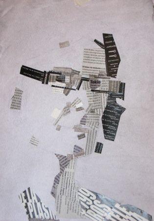 """""""Autorretrato"""". Jesús F. Navarro. 30 x 42 cm. Collage tipográfico sobre papel tintado"""