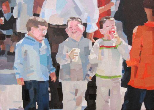 """""""En el Charco"""". Jesús F. Navarro. Acrílico y collage sobre lienzo"""