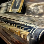 """""""El viejo piano"""". Tomás Castaño. Óleo sobre tablero DM 100 x 100 cm."""
