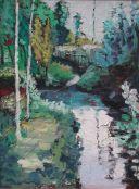 """La Fuente Vieja"". Carlos Gorrindo. Óleo sobre lienzo 70 x 100 cm."