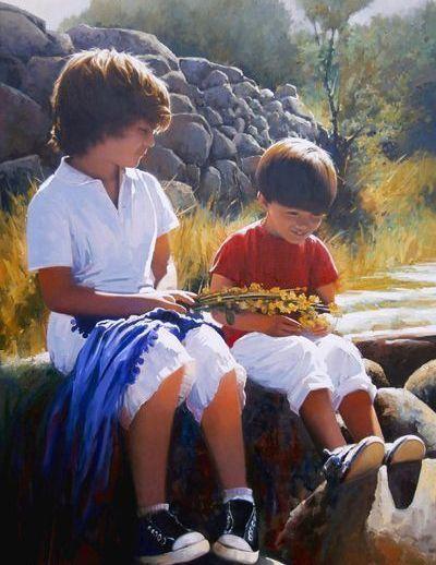 """""""Complicidad"""". José Higuera. 116 x 81 cm. Óleo sobre lienzo."""