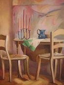 """""""Mesa con candelabro"""". Fariza. 100 x 81 cm. Óleo sobre lienzo. 2005. €900"""