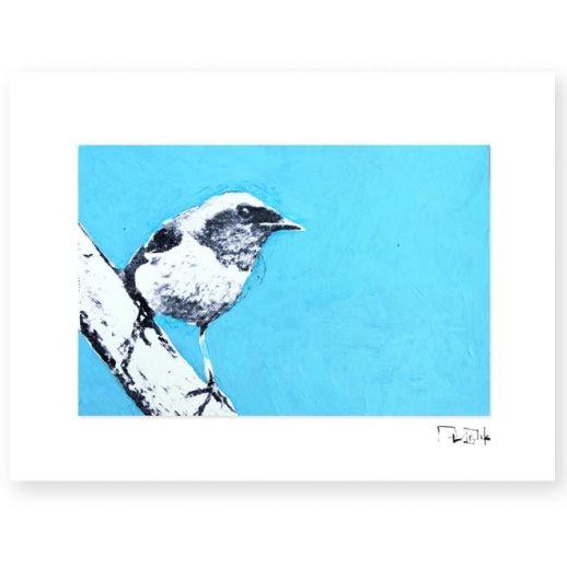 """Pájaro 3"". Plastik. 15x20 cm. Técnica mixta sobre papel"