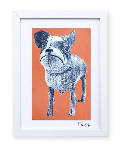 """""""Perro de juguete"""". Plastik. 15x20 cm. Técnica mixta sobre papel. Marco blanco"""