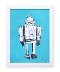 """""""Robot de juguete 5"""". Plastik. 15x20 cm. Técnica mixta sobre papel. Marco blanco"""