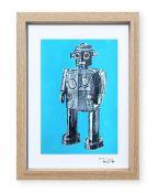 """""""Robot de juguete 3"""". Plastik. 15x20 cm. Técnica mixta sobre papel. Marco madera"""