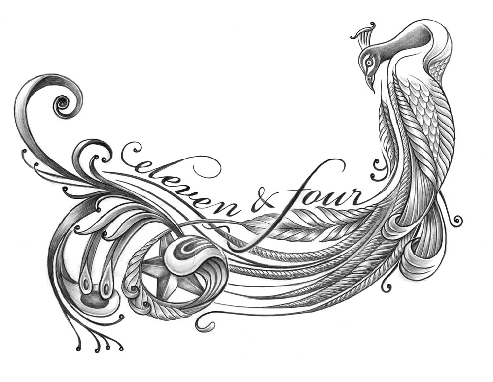 Peacock, graphite, 10 x 8 in., 2009. Tattoo design for musician Joe Koenig.