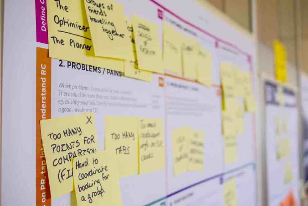 sticky notes and other brainstorming documents