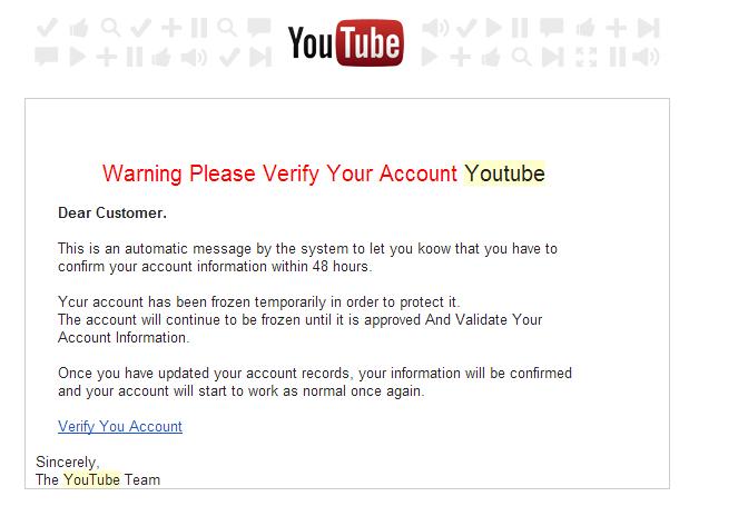 youtube warning gmail