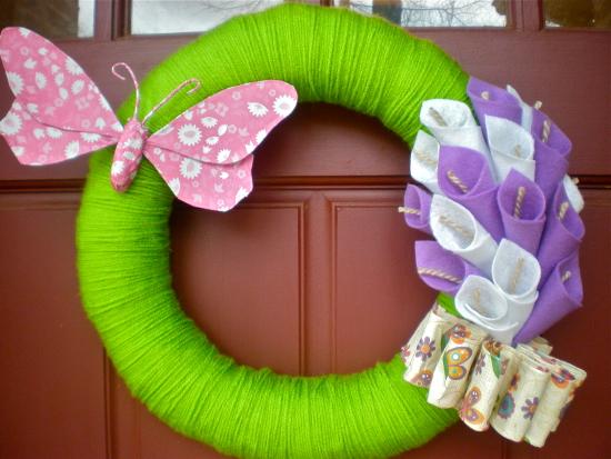 Felt lily wreath