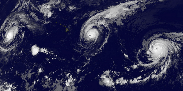 Three hurricanes surround Hawaii