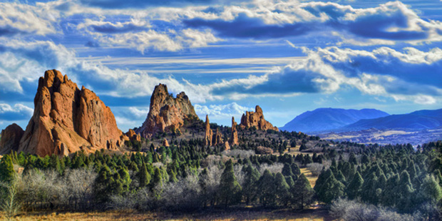 A sprawling vista of the Garden of the Gods in Colorado. (http://photography.josephlekas.com/)