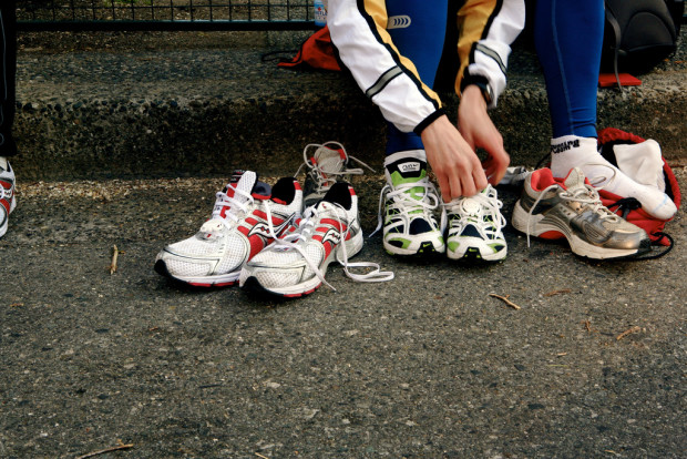 stoner: runner trying on different running shoes
