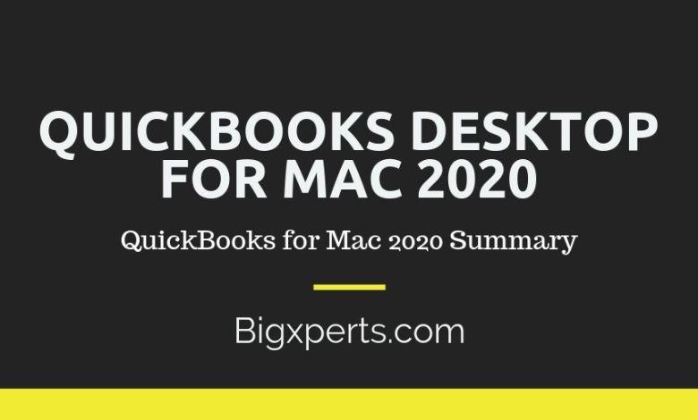 QuickBooks Desktop for Mac 2020