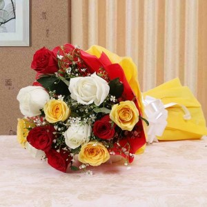 mixed flower roses bouquet in Indore