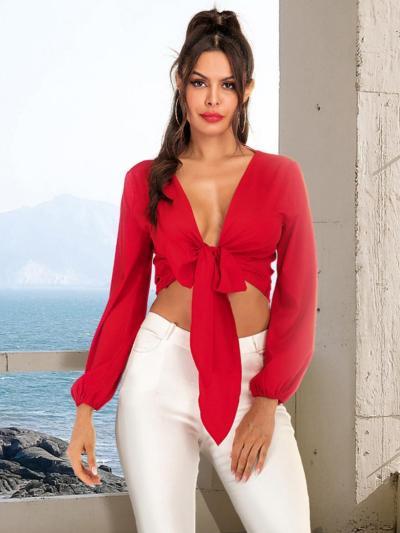 shestar wholesale sexy deep v-neck bowknot blouse