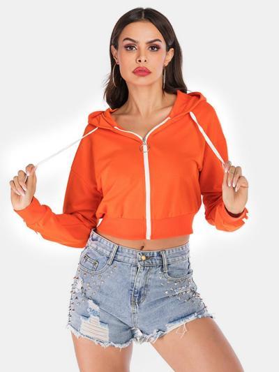 shestar wholesale stripe sleeve zipper hooded jacket