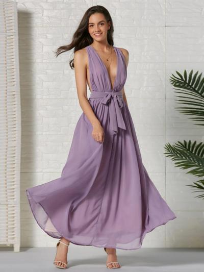 shestar wholesale v-neck bow halter dress