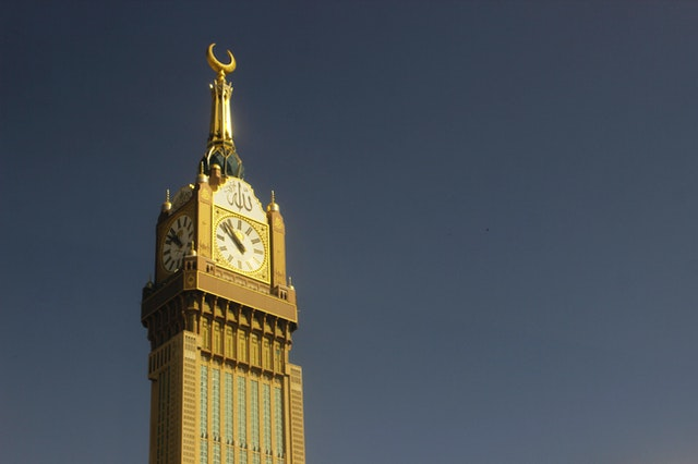 A clock tower in Mekkah, Saudi Arabia.