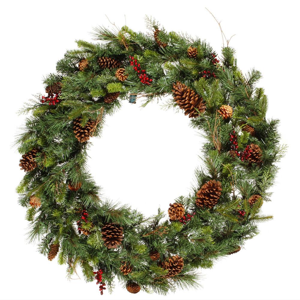36 Inch PEPVC Cibola Mixed Pine Wreath Unlit G118736