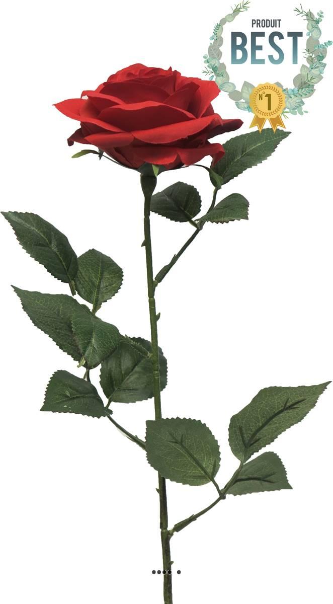 rose artificielle paris h 64 cm superbe tete d 9 cm 12 feuilles en tissu rouge best