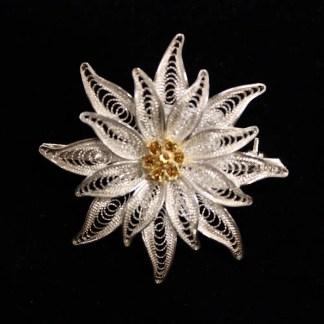 Spilla in filigrana d'argento con cristalli Swarovski cm 3.5